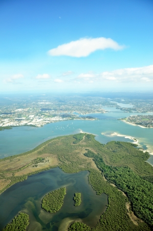 bird eye view: Aerial view of the earth - lake and forest Stock Photo