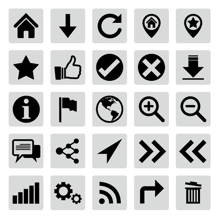 global settings: Website and internet icon set Illustration
