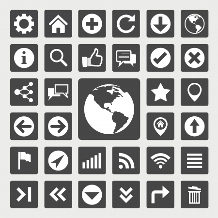 pictograph: Website and internet icon set Illustration