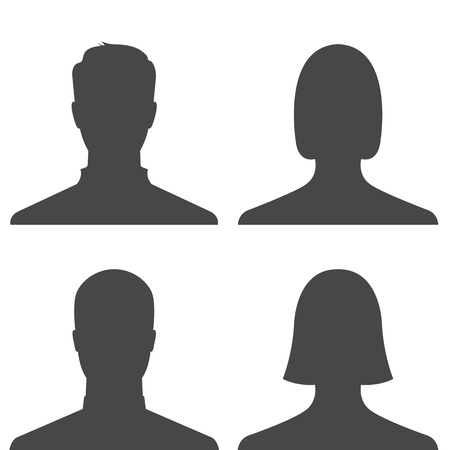 femme noire nue: D�finir des hommes et des femmes profil avatar photos - vecteur Illustration