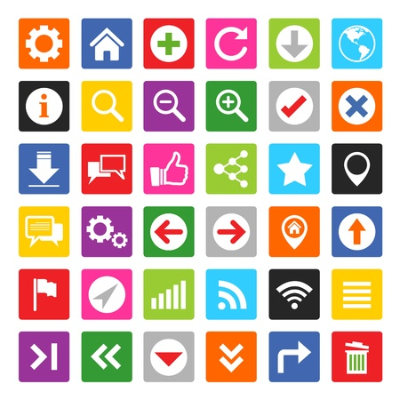 Colorful website and internet icon set Vector