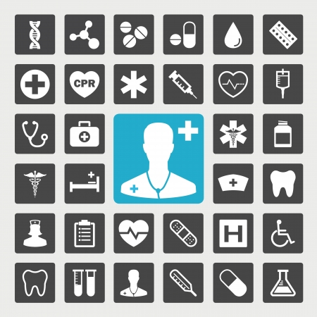 medical cure: Medical vector icon set