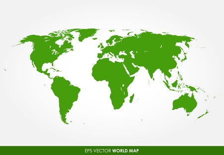 south east: Detailed world map - vector