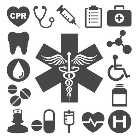 asclepius: Medical vector icons Illustration