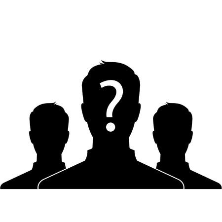 Silueta masculina foto de perfil con signo de interrogación en la cabeza - vector Foto de archivo - 21738695