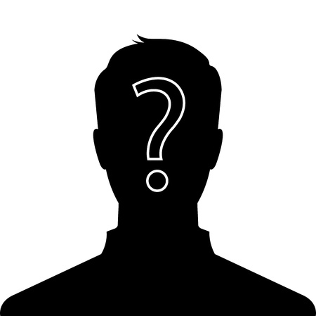 nude male: Male silhouette profile picture with question mark on the head - vector