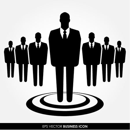recruitment icon: A businessman standing out from the crowd - leadership, recruitment and HR concept