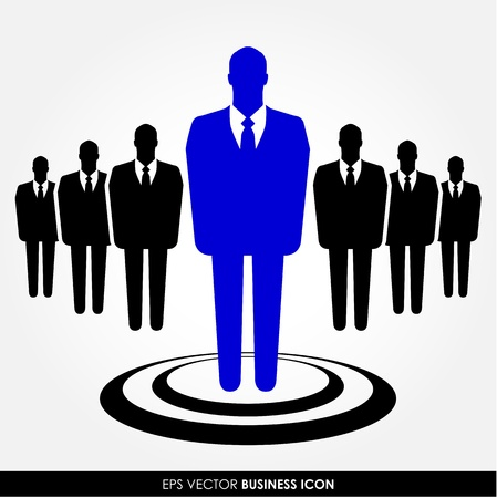 standing out: A businessman standing out from the crowd - leadership, recruitment and HR concept