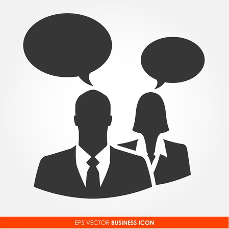 call center woman: Businesspeople with bubble signs - vector icon