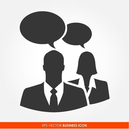 Businesspeople with bubble signs - vector icon Vector