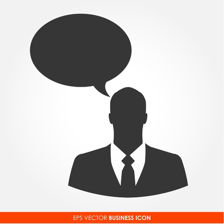 Businessman with bubble sign - vector icon Vector