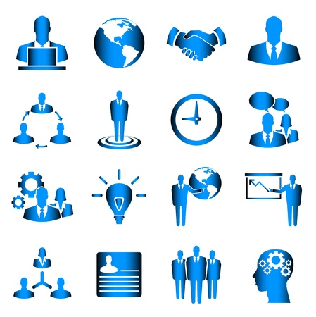 Blue business vector icon set on white background Stock Vector - 21773460