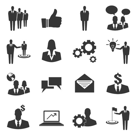 hr: Basic business vector icon set on white background