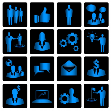 Blue business vector icons on black background Vector