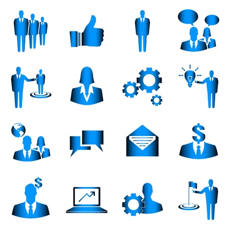 Blue business vector icon set on white background Vector