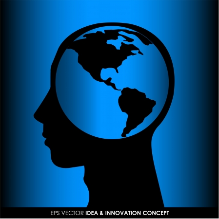 world thinking: Human head silhouette with world map as a brain - thinking and innovation concept