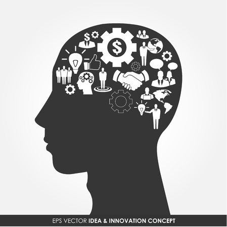 Human head silhouette with business icons as a brain - business idea and innovation concept Vector