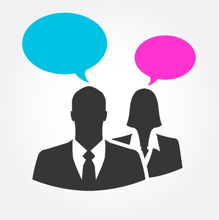 black lady talking: Businesspeople talking with bubble signs - vector icon Illustration