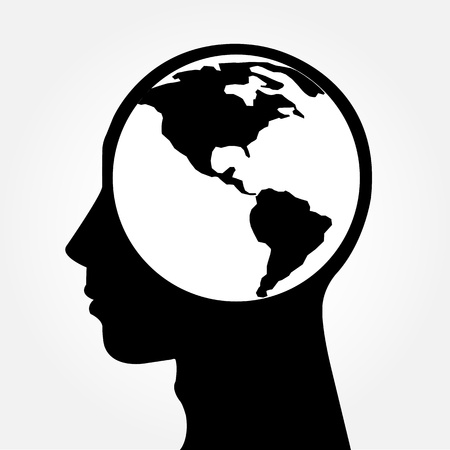 Human head silhouette with world map as a brain - thinking and innovation concept Vector