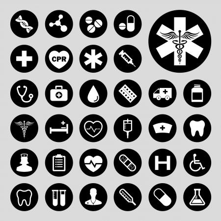 基本的な医療ベクトル アイコンを設定