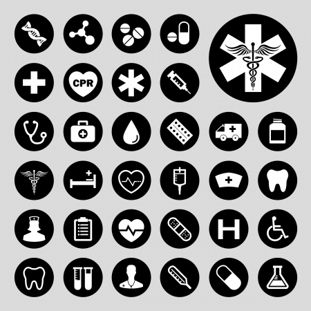 hilfsmittel: Grundlegende medizinische vector icon set Illustration