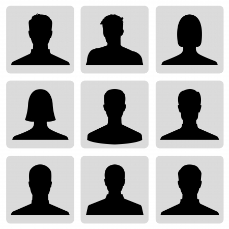 nude man: Men and women avatar profile picture set - vector