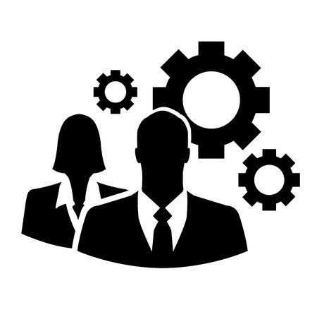 Businesspeople with gears vector icon Vector