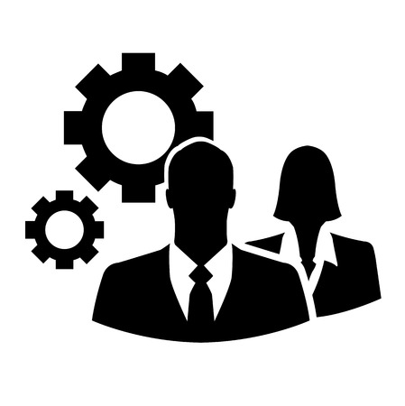 Businesspeople with gears vector icon Vectores