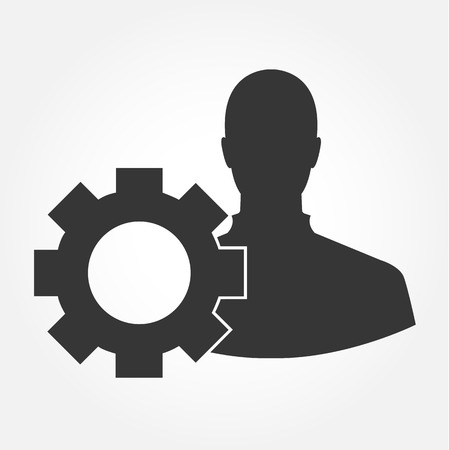 A man with gear silhouette vector icon Vector