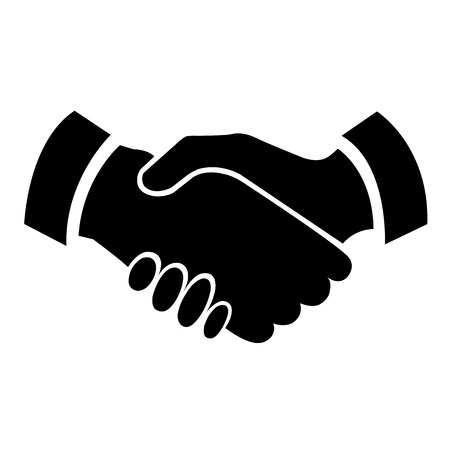 teamwork together: Handshake vector icon - business concept