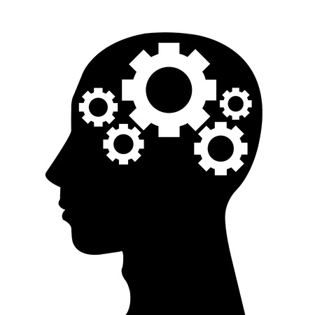 gear head: Human head silhouette with set of gears as a brain - idea and innovation concept