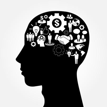 cerebro blanco y negro: Silueta de la cabeza humana con iconos de negocios como un cerebro - idea de negocio y el concepto de la innovación