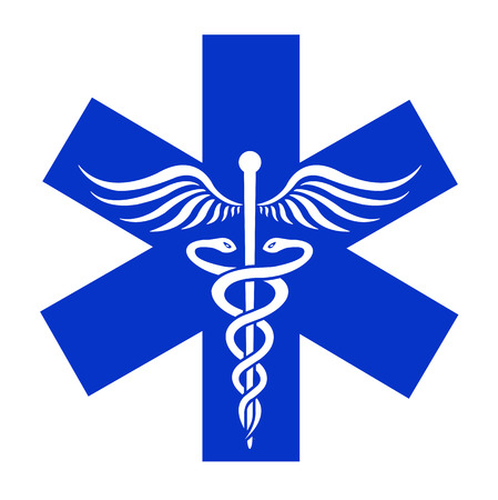 Caduceus sign in blue asterisk - medical vector icon Vector