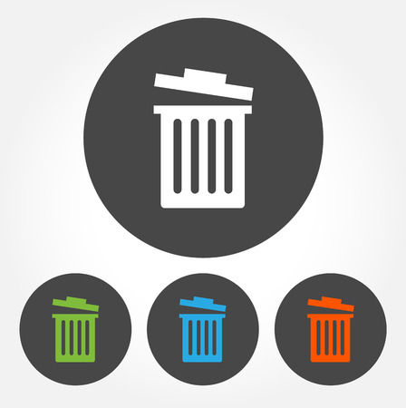 Colorful trash bin vector icon set 向量圖像