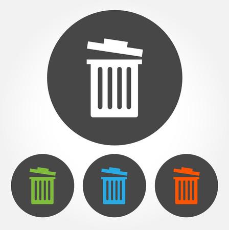 Kleurrijke afvalbak vector icon set