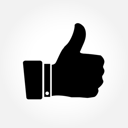 sign ok: Thumbs up vector icon on white background