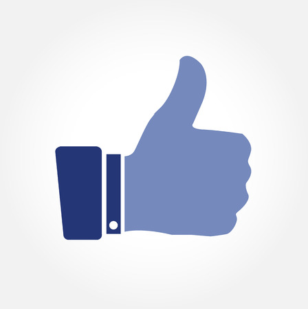 great job: Blue thumbs up vector icon on white background