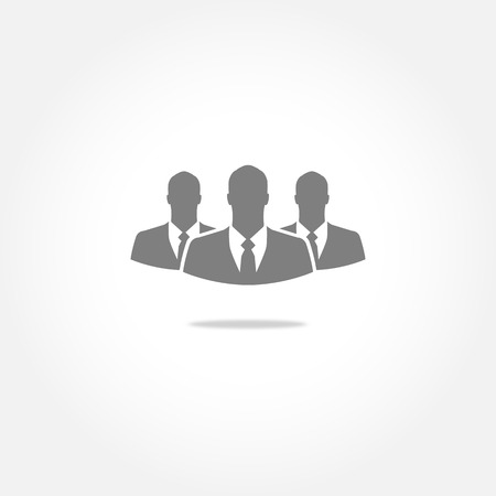 recruit suit: Three businessman vector icon Illustration