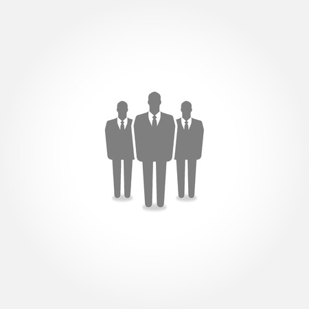 recruit suit: Group of businessmen standing - vector icon