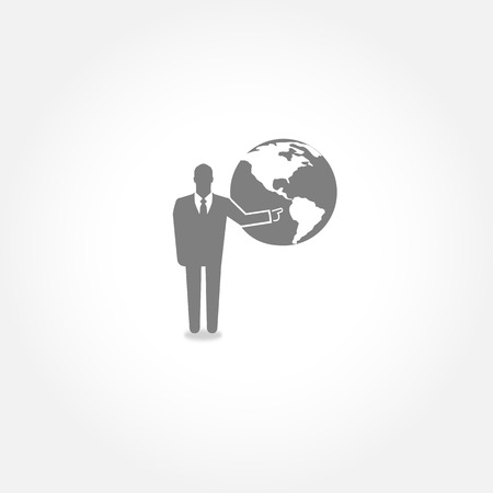 spokesperson: Businessman pointing  on the globe - vector icon Illustration