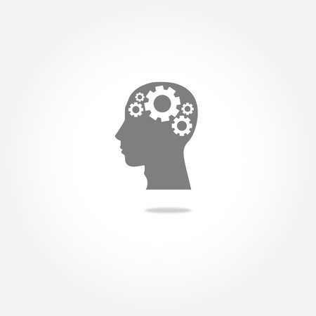 invent: Human head silhouette with set of cogs as a brain - idea and innovation concept