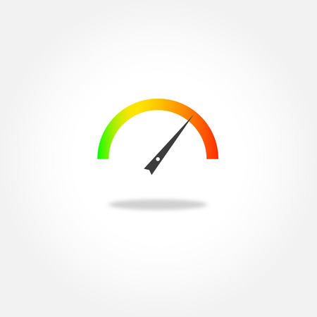 kilometer: Colorful speedometer or tachometer - vector icon