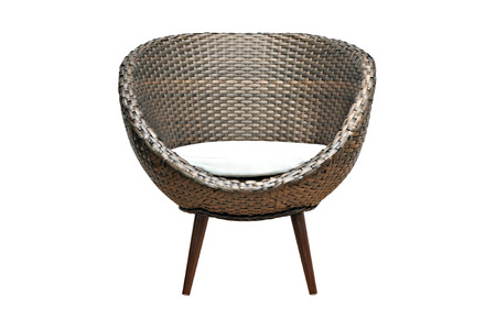 Modern brown wicker chair on white background Stock Photo