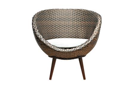 Witte Rieten Stoel : Moderne stijl rieten stoel met zitkussen geïsoleerd op witte