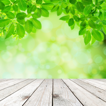 Wooden deck with natural green leaves and bokeh background photo