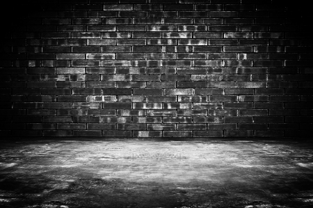 old brick wall: Old dark room with brick wall and concrete floor - as background