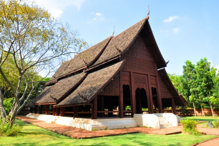 Ancient northern Thai style wooden pavilion photo