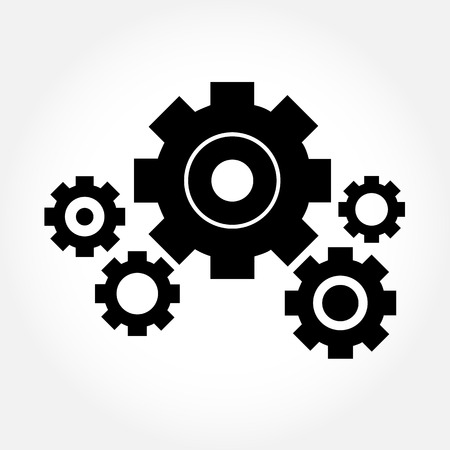 Cog or gear set on white gray background - vector
