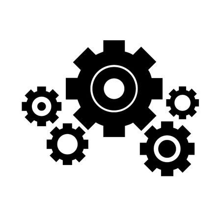 Cog or gear set on white background - vector Vector