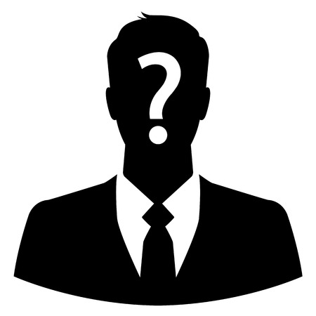Businessman avatar with question mark on his head Vector